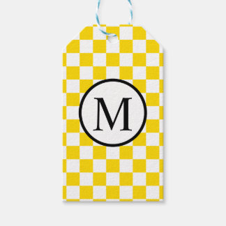 Monogramme simple avec le damier jaune étiquettes-cadeau