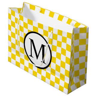 Monogramme simple avec le damier jaune grand sac cadeau
