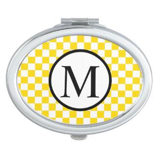 Monogramme simple avec le damier jaune miroirs de maquillage
