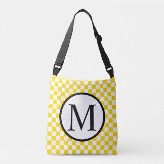 Monogramme simple avec le damier jaune sac