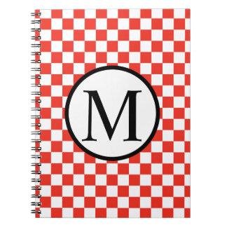 Monogramme simple avec le damier rouge carnets à spirale