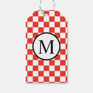 Monogramme simple avec le damier rouge étiquettes-cadeau