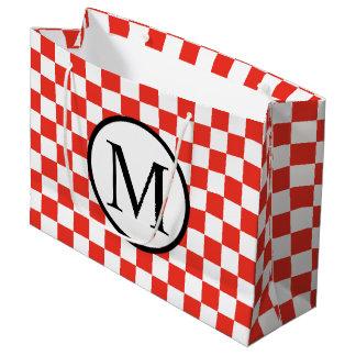 Monogramme simple avec le damier rouge grand sac cadeau