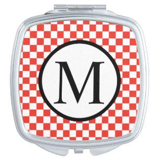 Monogramme simple avec le damier rouge miroir de maquillage