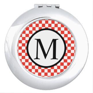 Monogramme simple avec le damier rouge miroirs de poche