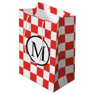 Monogramme simple avec le damier rouge sac cadeau moyen