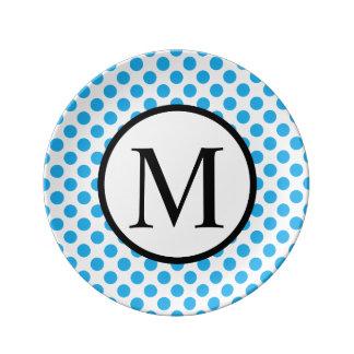 Monogramme simple avec le pois bleu assiette en porcelaine