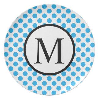 Monogramme simple avec le pois bleu assiettes en mélamine