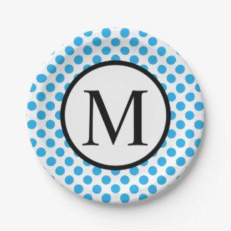Monogramme simple avec le pois bleu assiettes en papier
