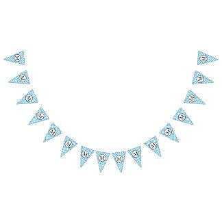 Monogramme simple avec le pois bleu bannière à fanions