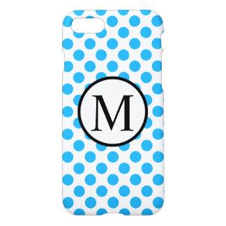 Monogramme simple avec le pois bleu coque iPhone 7