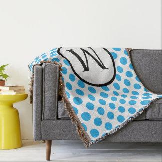 Monogramme simple avec le pois bleu couverture