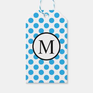 Monogramme simple avec le pois bleu étiquettes-cadeau
