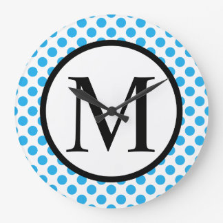 Monogramme simple avec le pois bleu grande horloge ronde