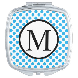 Monogramme simple avec le pois bleu miroirs compacts