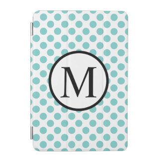 Monogramme simple avec le pois d'Aqua Protection iPad Mini