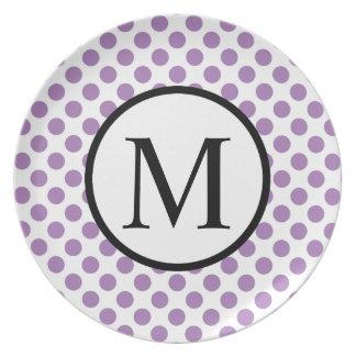 Monogramme simple avec le pois de lavande assiette