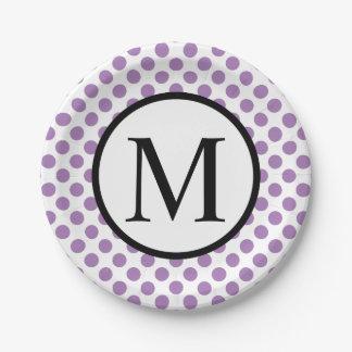 Monogramme simple avec le pois de lavande assiettes en papier