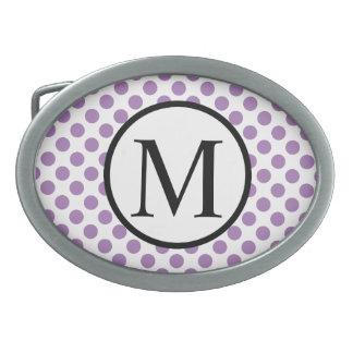 Monogramme simple avec le pois de lavande boucles de ceinture ovales