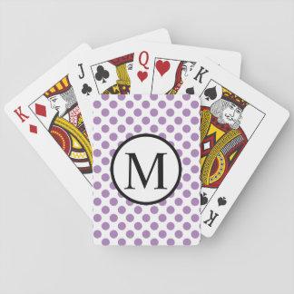 Monogramme simple avec le pois de lavande cartes à jouer