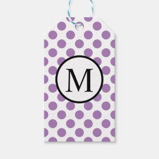 Monogramme simple avec le pois de lavande étiquettes-cadeau