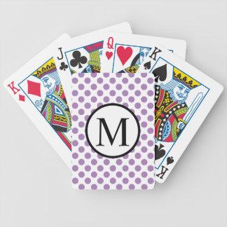 Monogramme simple avec le pois de lavande jeu de cartes