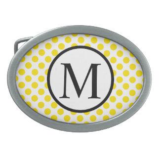 Monogramme simple avec le pois jaune boucles de ceinture ovales