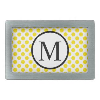 Monogramme simple avec le pois jaune boucles de ceinture rectangulaires