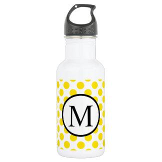 Monogramme simple avec le pois jaune bouteille d'eau