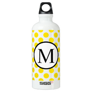 Monogramme simple avec le pois jaune bouteille d'eau en aluminium
