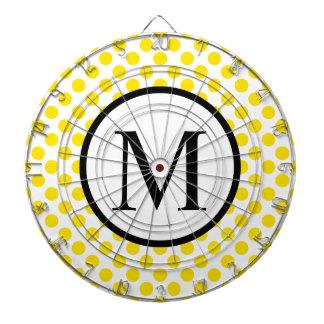 Monogramme simple avec le pois jaune jeu de fléchettes