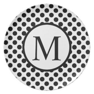 Monogramme simple avec le pois noir assiette