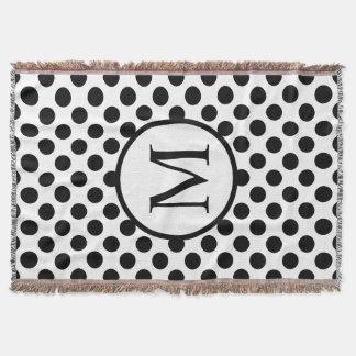 Monogramme simple avec le pois noir couvre pied de lit