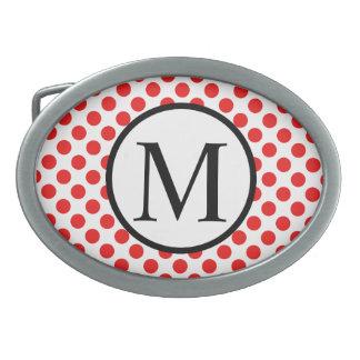 Monogramme simple avec le pois rouge boucle de ceinture ovale