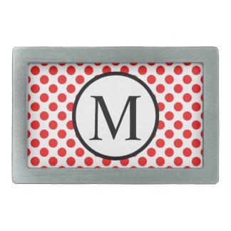 Monogramme simple avec le pois rouge boucles de ceinture rectangulaires