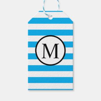 Monogramme simple avec les rayures horizontales étiquettes-cadeau