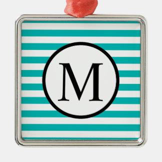 Monogramme simple avec les rayures horizontales ornement carré argenté