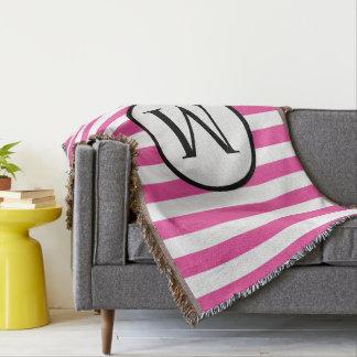 Monogramme simple avec les rayures verticales couvre pied de lit