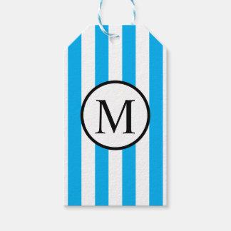 Monogramme simple avec les rayures verticales étiquettes-cadeau