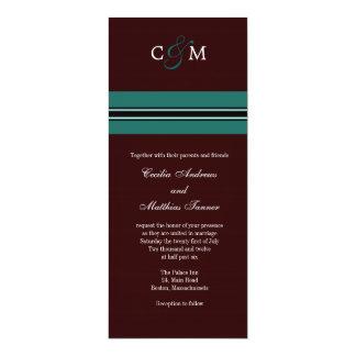 Monogramme Teal et faire-part de mariage de Brown Carton D'invitation 10,16 Cm X 23,49 Cm