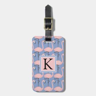 Monogramme tendre du motif | de flamant étiquette pour bagages