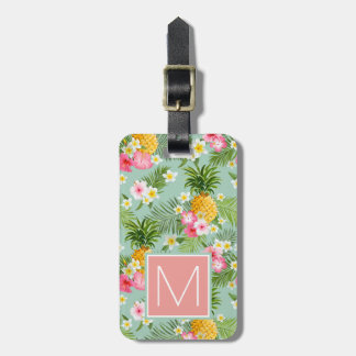 Monogramme tropical de fleurs et d'ananas | étiquette à bagage