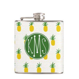 Monogramme tropical d'or des ananas | flasques