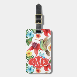 Monogramme tropical du colibri | étiquette à bagage