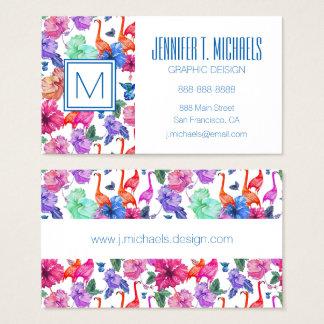 Monogramme tropical du motif | d'aquarelle cartes de visite