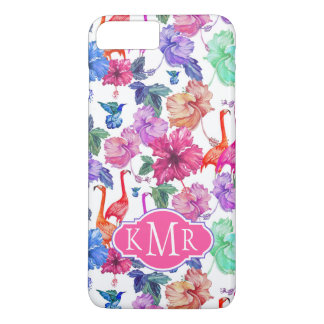Monogramme tropical du motif | d'aquarelle coque iPhone 7 plus