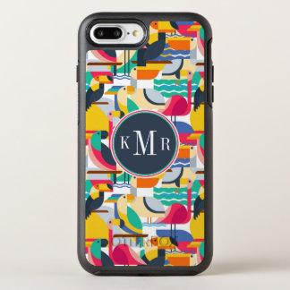Monogramme tropical géométrique des oiseaux | coque otterbox symmetry pour iPhone 7 plus