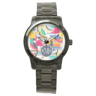 Monogramme tropical géométrique des oiseaux | montres bracelet