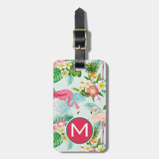 Monogramme tropical vintage de fleurs et d'oiseaux étiquette à bagage