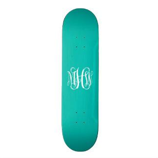 Monogramme turquoise de manuscrit de vigne plateau de skateboard